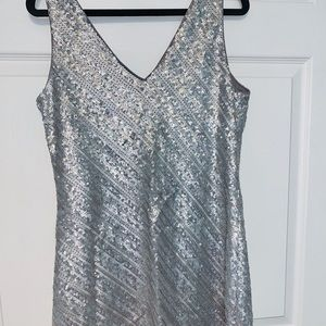 Banana Republic Silver Sequin Mini Dress